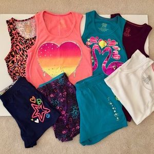 LOT OF 8 GIRLS TANK TOPS SHORTS SIze 10/12 NICE!